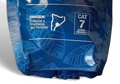 Etiqueta d'exmple d'un producte d'origen Catalunya