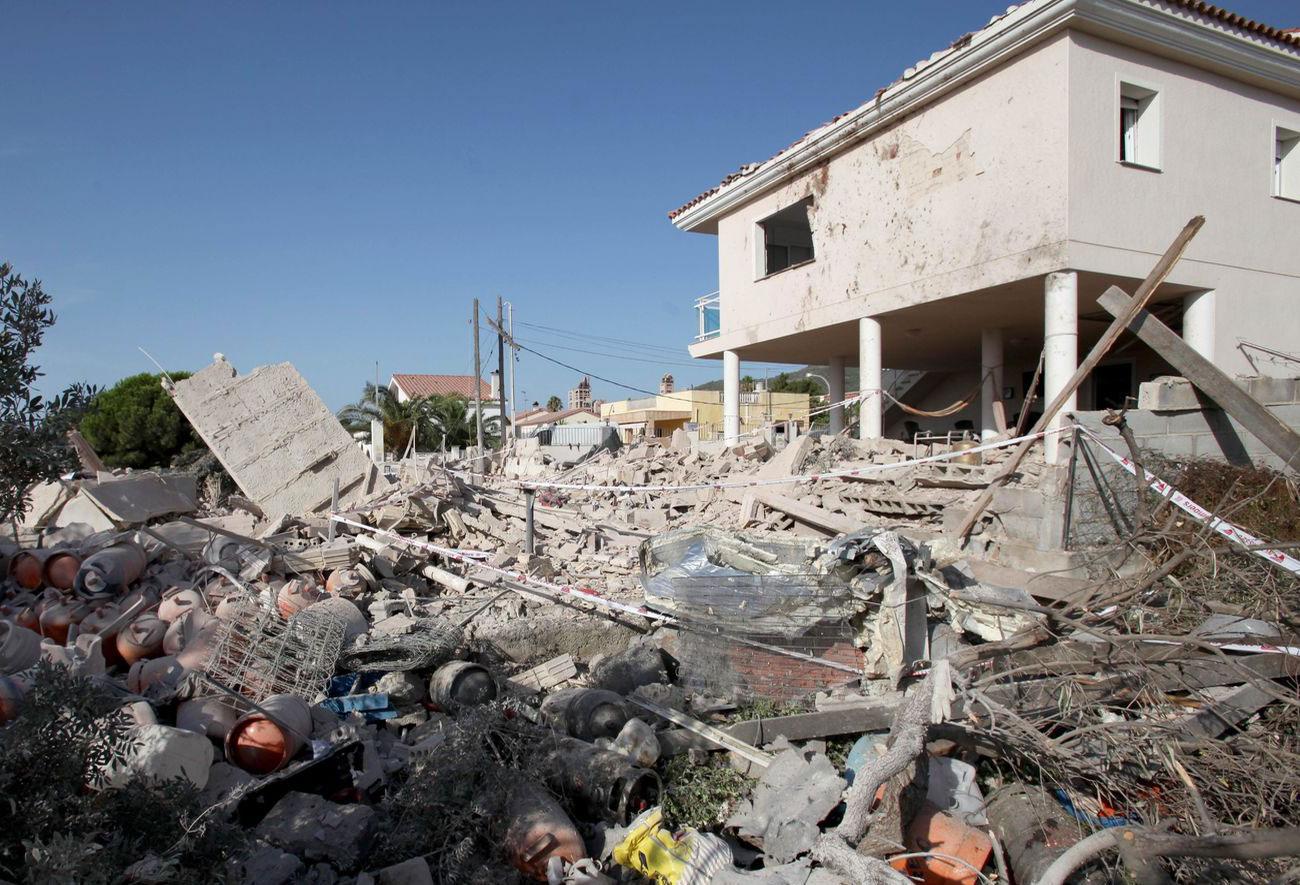 La casa d'Alcanar després de l'explosió de dimecres a la nit
