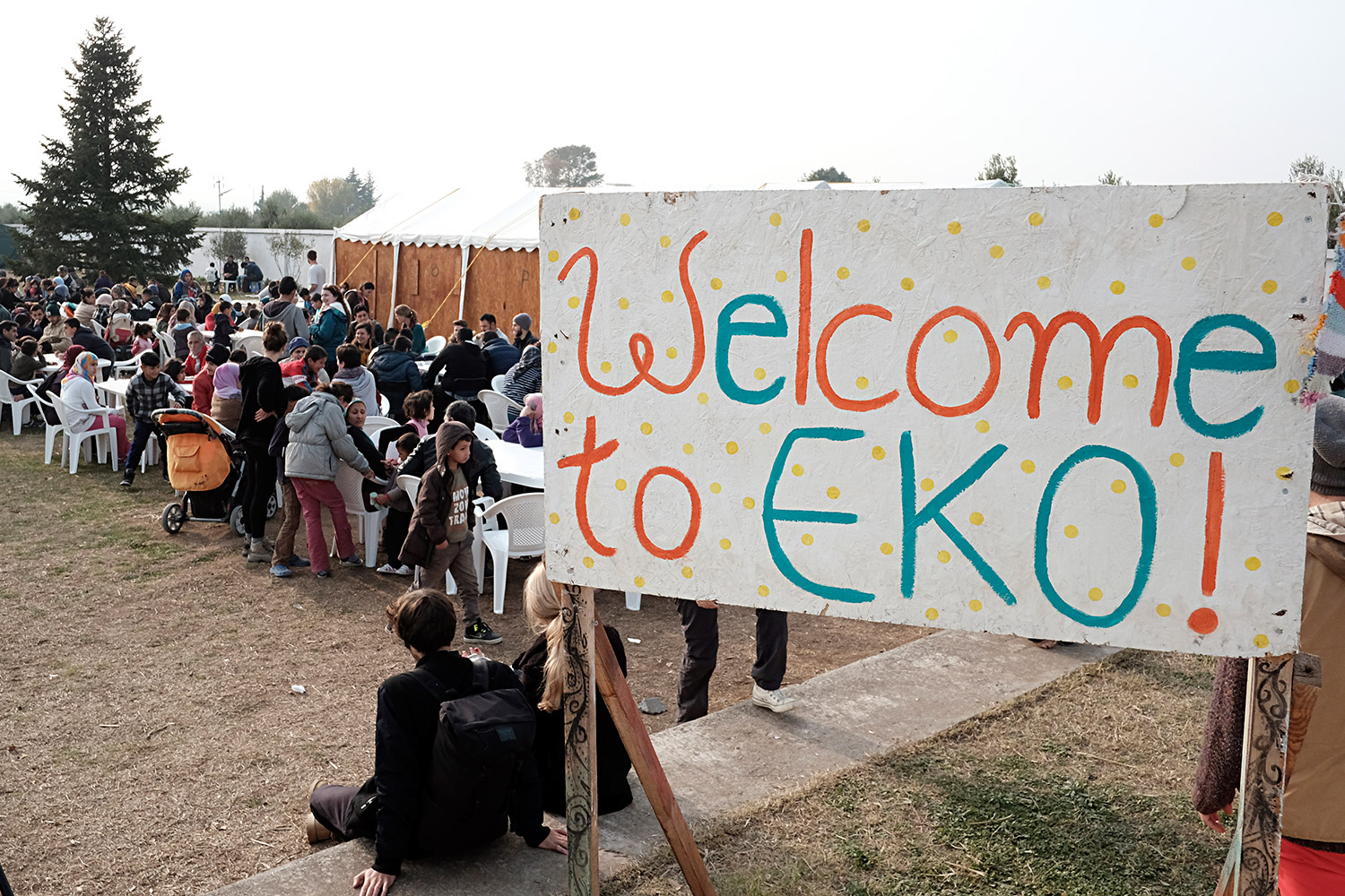 Volunteers from the Eko Project have set up a camp next to Vasilika, near Thessaloniki