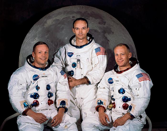 Una de les moltes fotografies oficials de la tripulació de l'Apol·lo 11