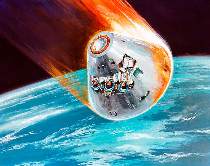 Recreació del Columbia tornant a l'atmosfera