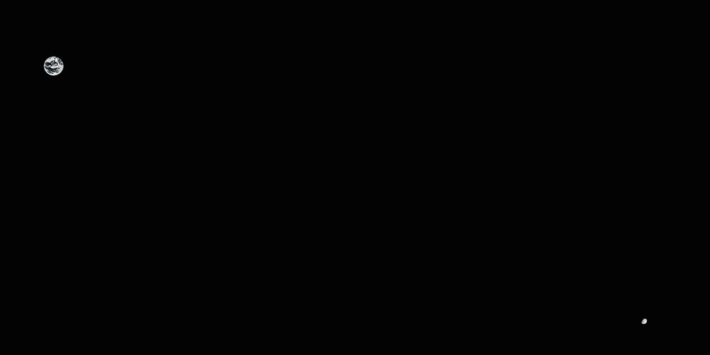 Imatge obtinguda el 2017 que confirma l'enorme distància entre la Terra i la Lluna